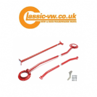 Mk2 Golf Front & Rear Strut Brace Kit. Red, Corrado